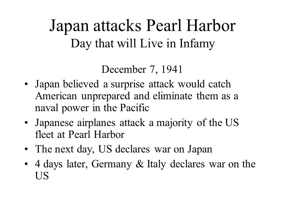 Japan attacks Pearl Harbor Day that will Live in Infamy