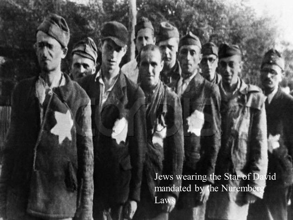 Jews wearing the Star of David mandated by the Nuremberg Laws