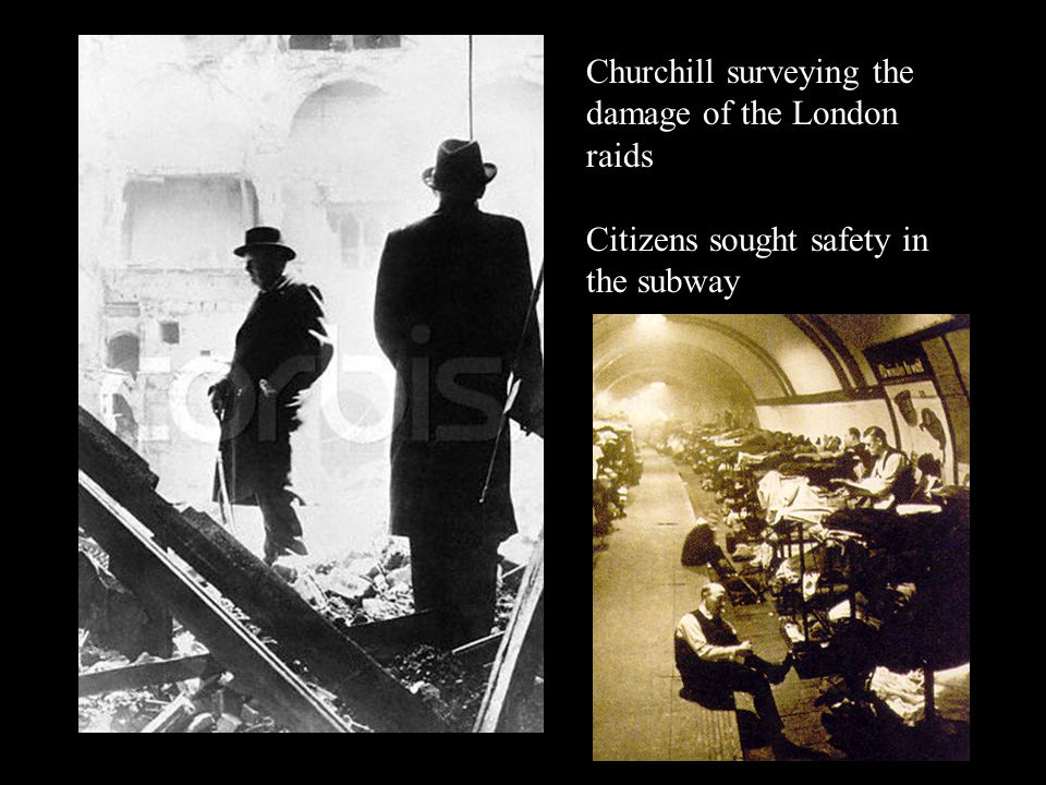 Churchill surveying the damage of the London raids