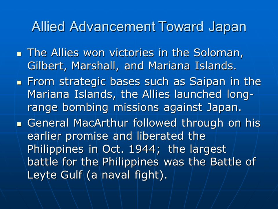 Allied Advancement Toward Japan