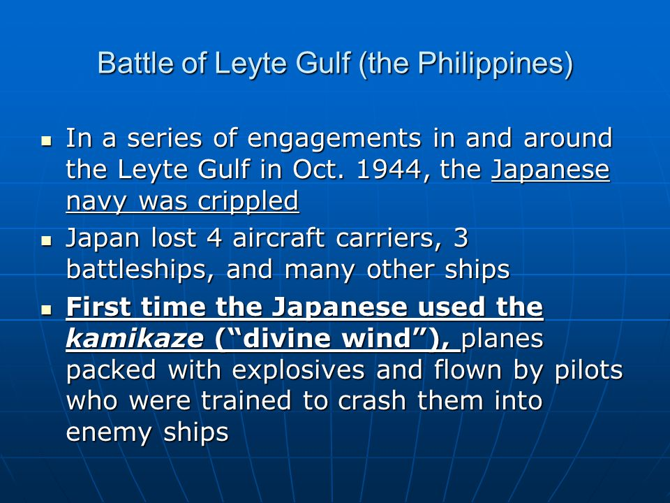 Battle of Leyte Gulf (the Philippines)
