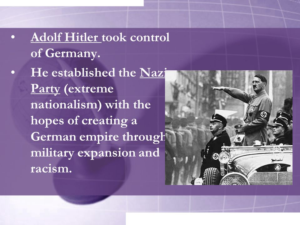 Adolf Hitler took control of Germany.