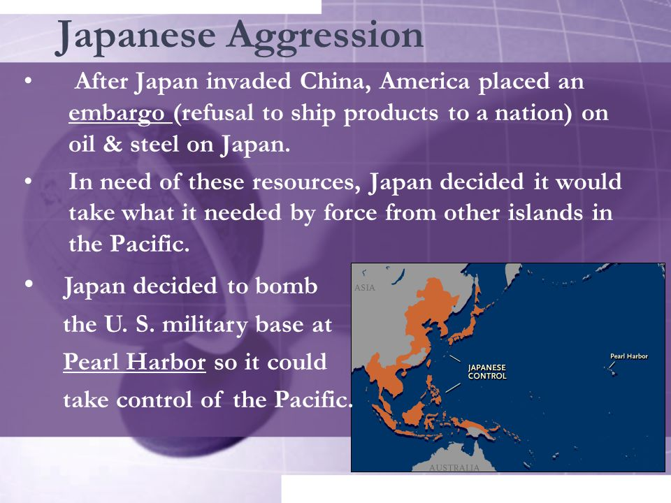 Japanese Aggression Japan decided to bomb