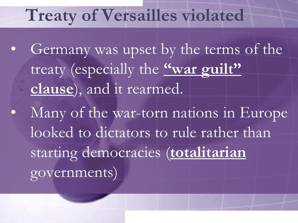 Treaty of Versailles violated