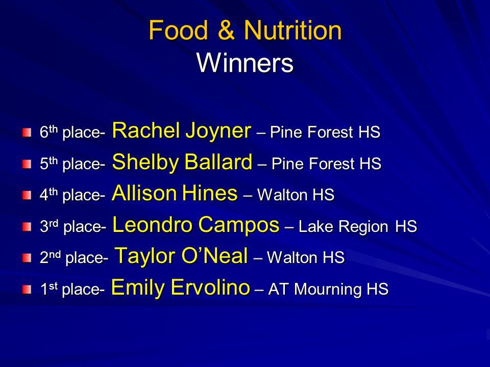 Food & Nutrition Winners