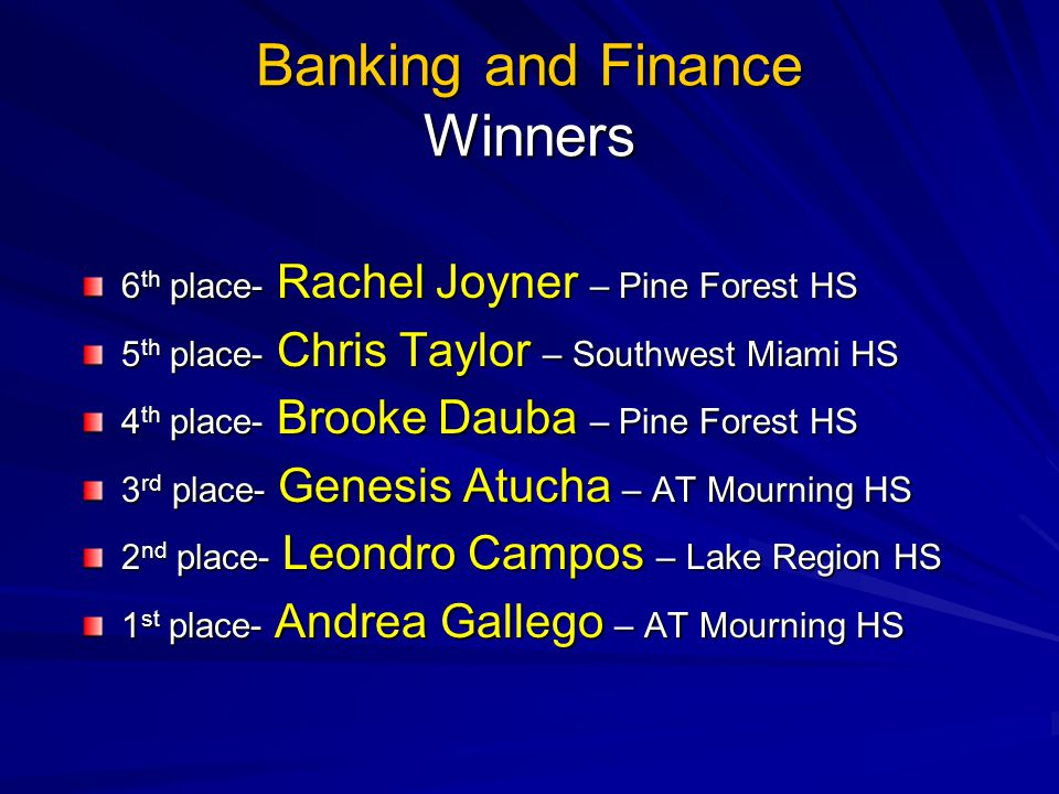 Banking and Finance Winners