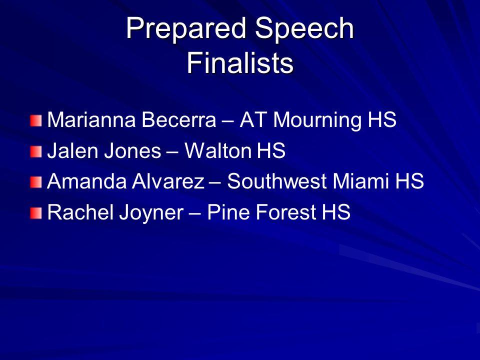 Prepared Speech Finalists