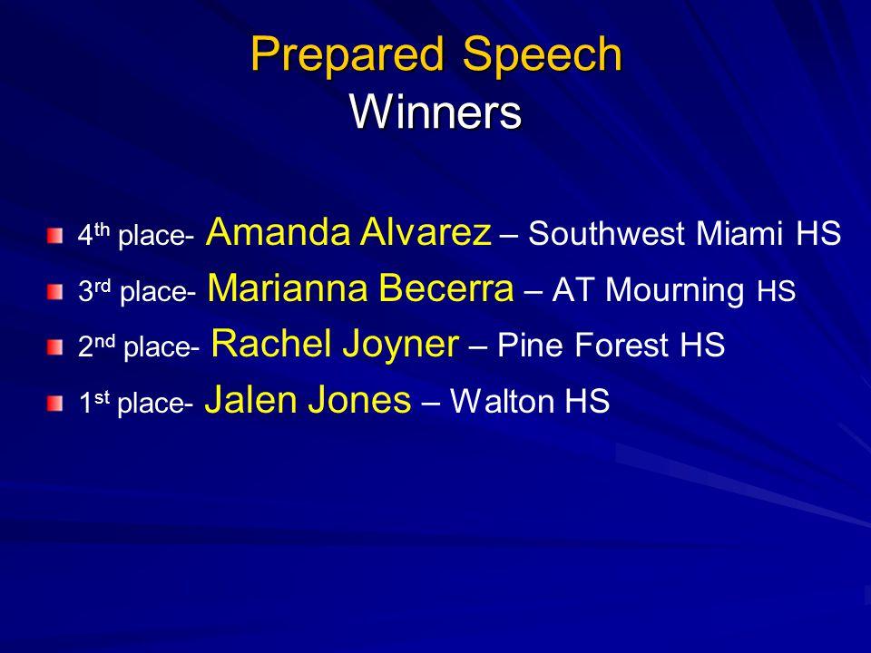 Prepared Speech Winners