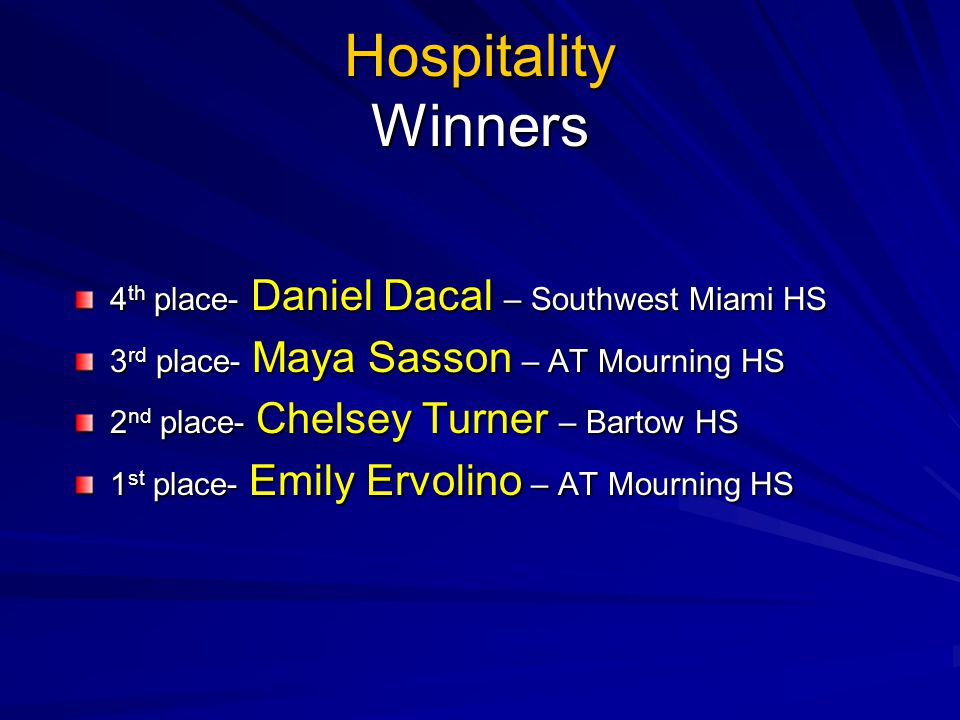 Hospitality Winners 4th place- Daniel Dacal – Southwest Miami HS