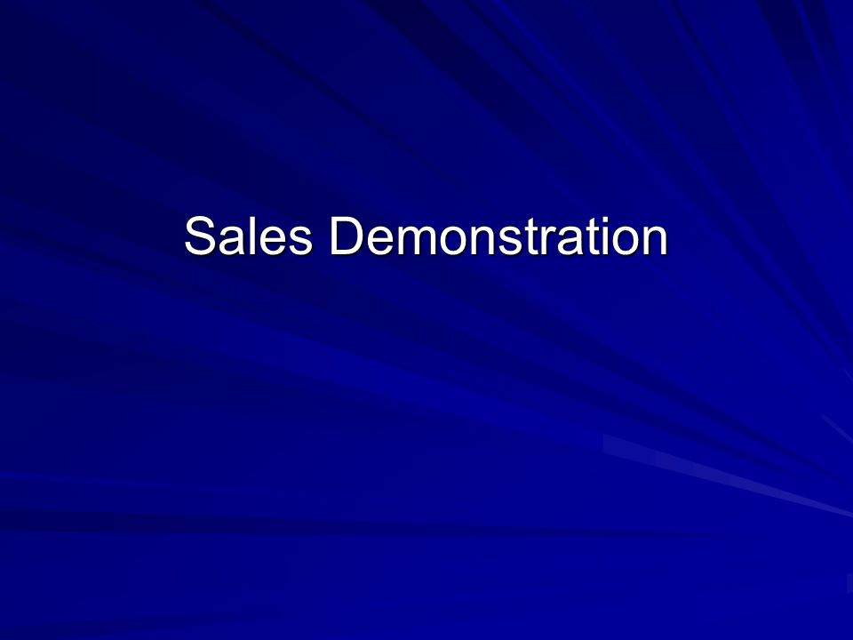 Sales Demonstration
