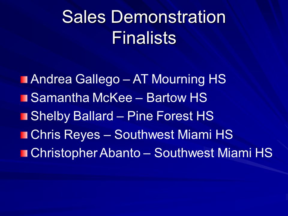 Sales Demonstration Finalists