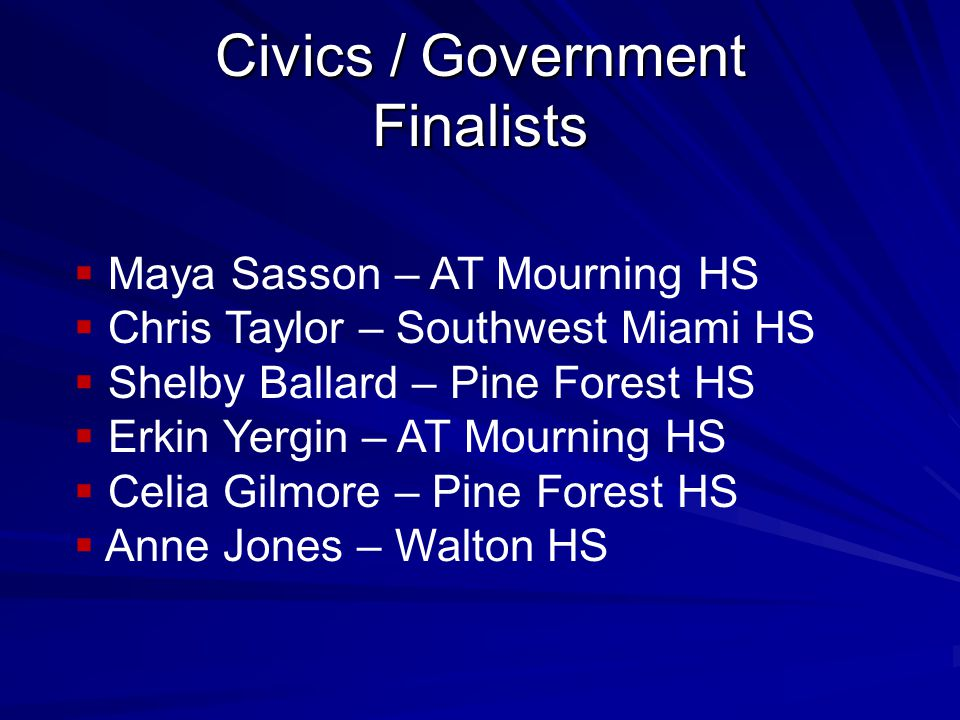 Civics / Government Finalists