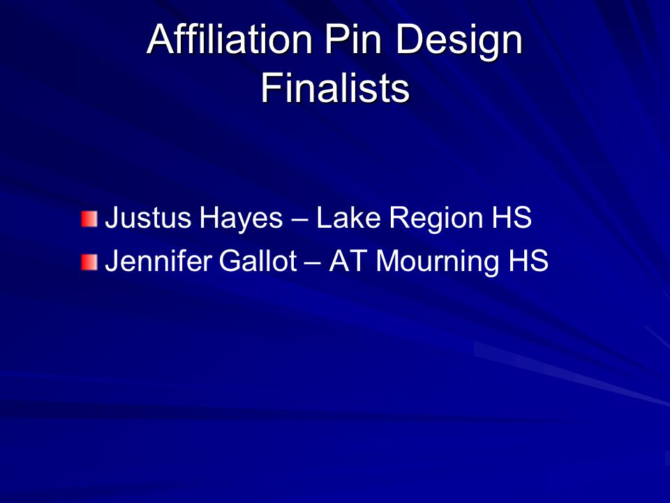 Affiliation Pin Design Finalists