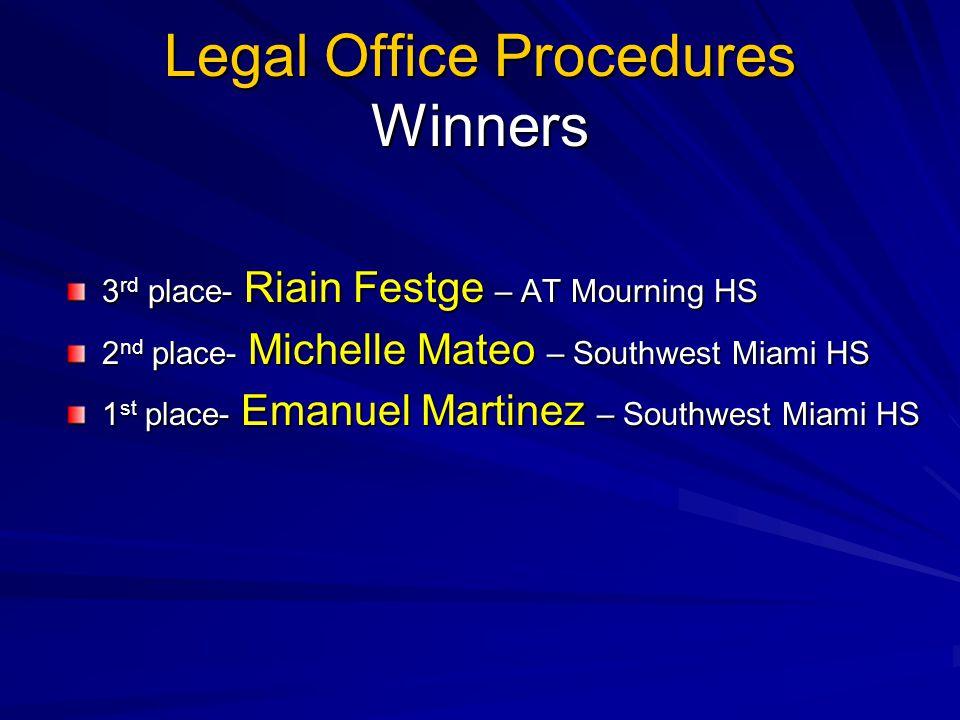 Legal Office Procedures Winners