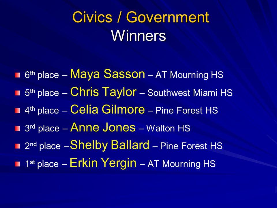 Civics / Government Winners