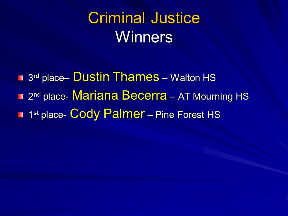 Criminal Justice Winners