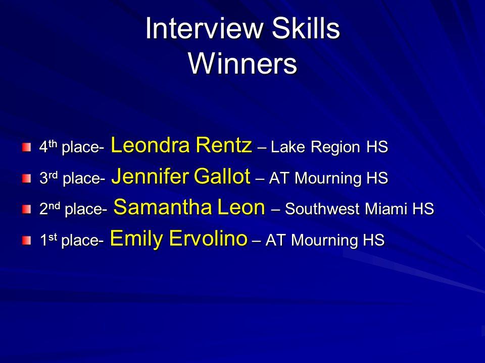 Interview Skills Winners