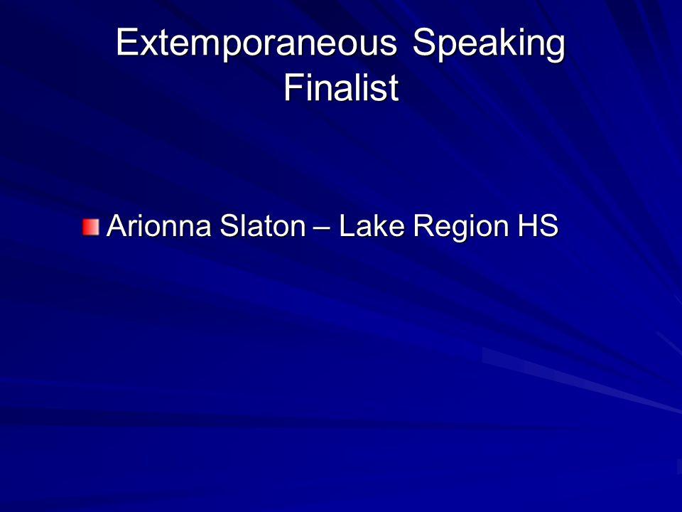 Extemporaneous Speaking Finalist