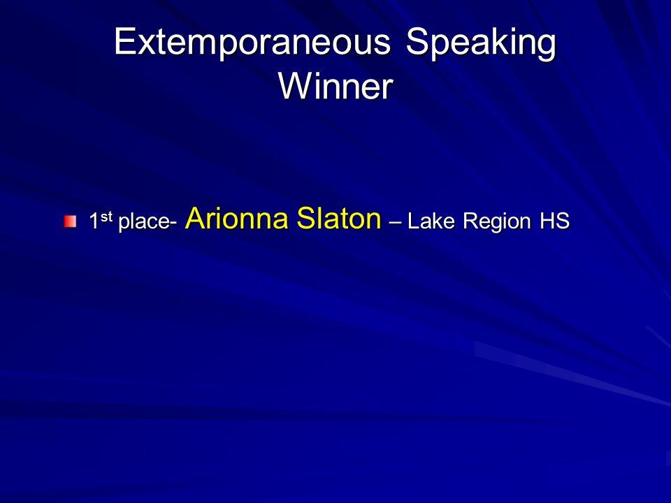 Extemporaneous Speaking Winner
