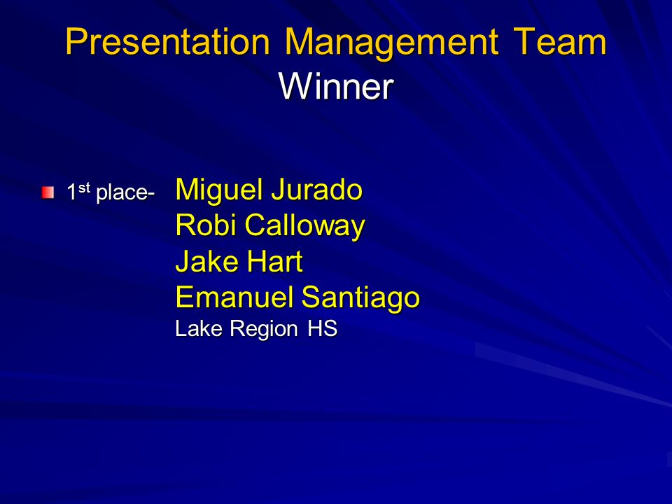 Presentation Management Team Winner