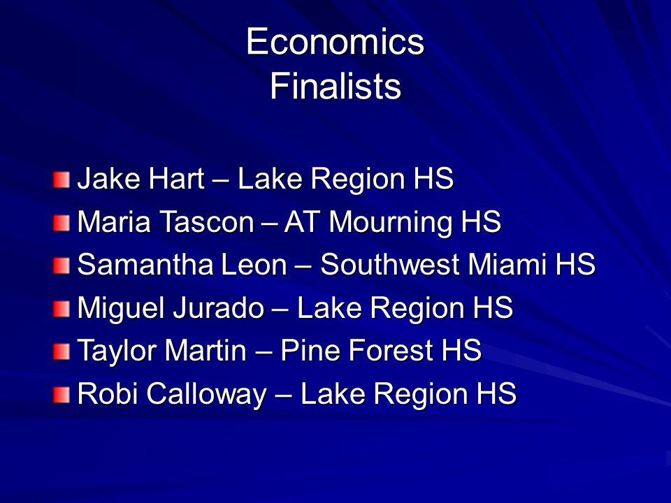 Economics Finalists Jake Hart – Lake Region HS