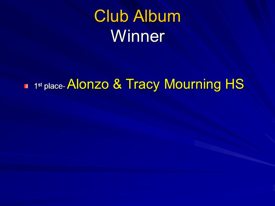 Club Album Winner 1st place- Alonzo & Tracy Mourning HS