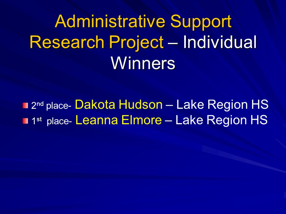 Administrative Support Research Project – Individual