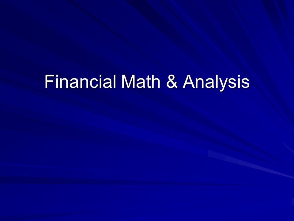 Financial Math & Analysis
