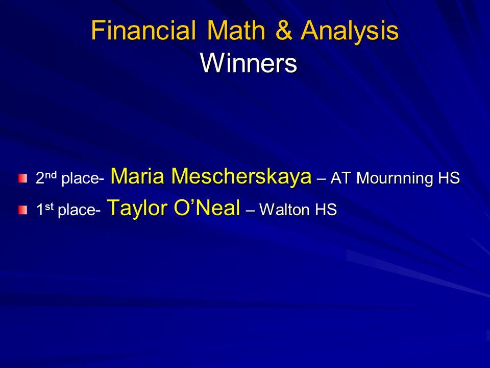 Financial Math & Analysis Winners