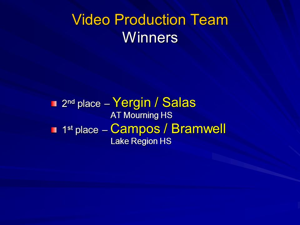 Video Production Team Winners