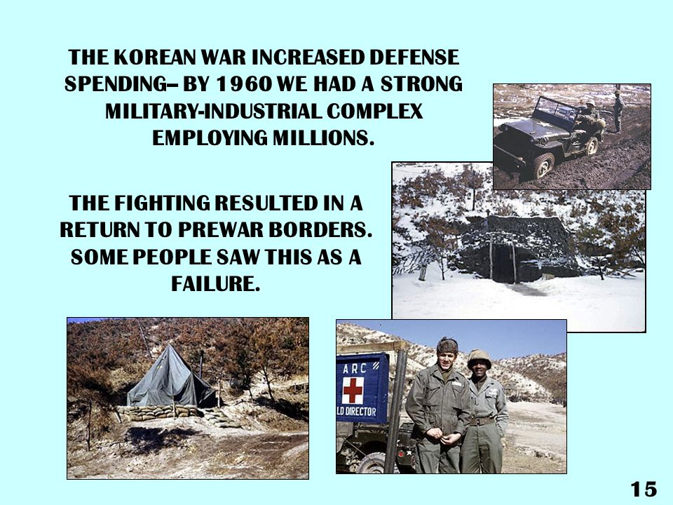 THE KOREAN WAR INCREASED DEFENSE SPENDING-- BY 1960 WE HAD A STRONG MILITARY-INDUSTRIAL COMPLEX EMPLOYING MILLIONS.