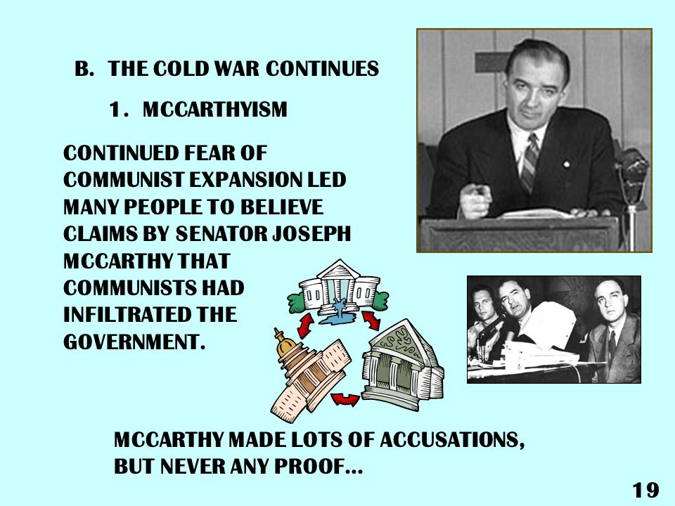 THE COLD WAR CONTINUES 1. MCCARTHYISM.