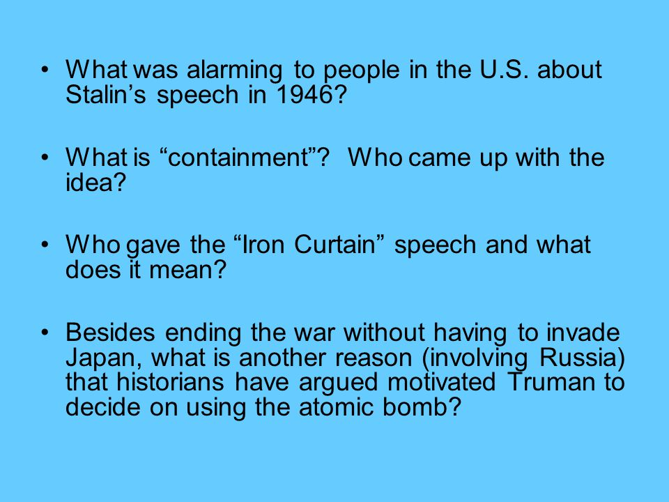What was alarming to people in the U.S. about Stalin's speech in 1946