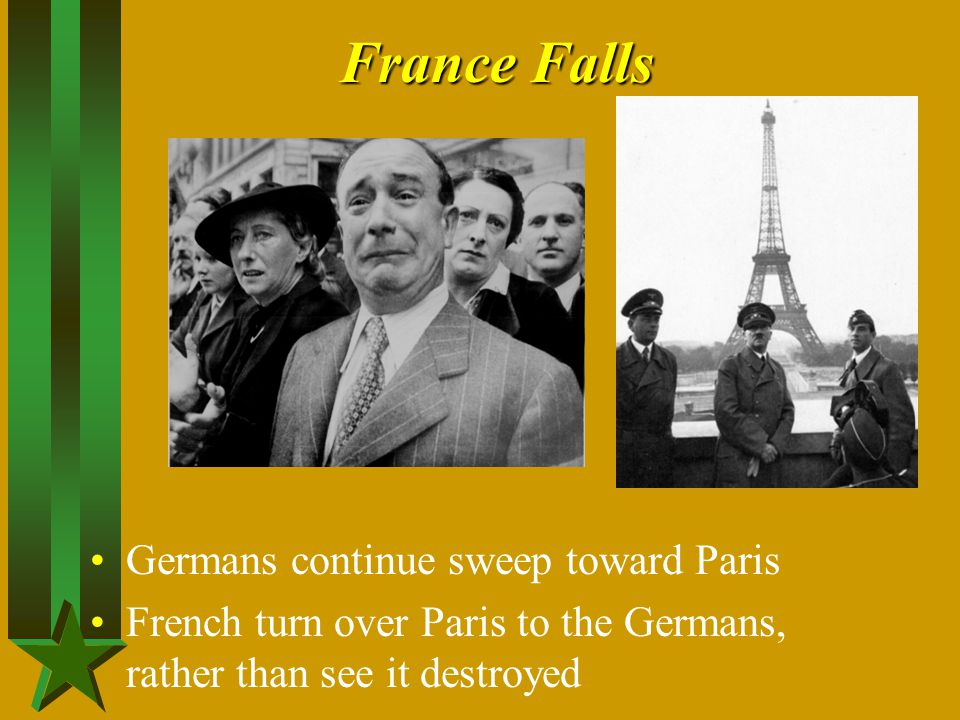 France Falls Germans continue sweep toward Paris