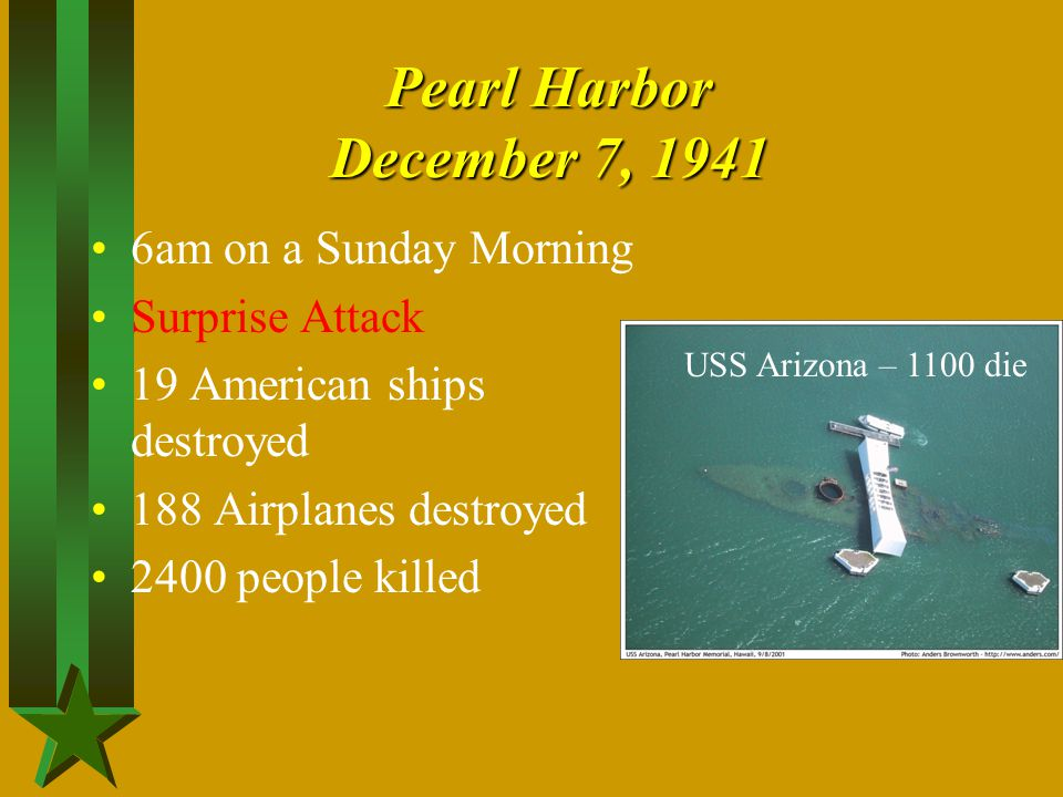 Pearl Harbor December 7, 1941 6am on a Sunday Morning Surprise Attack