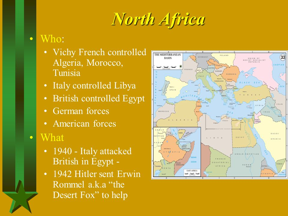 North Africa Who: Vichy French controlled Algeria, Morocco, Tunisia. Italy controlled Libya. British controlled Egypt.
