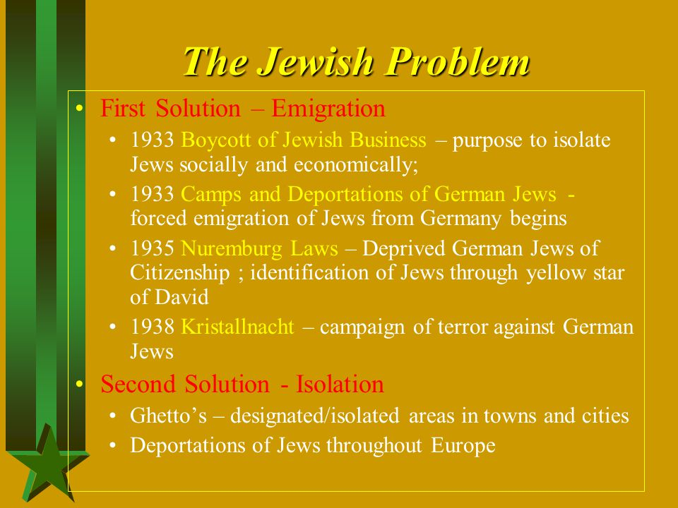 The Jewish Problem First Solution – Emigration
