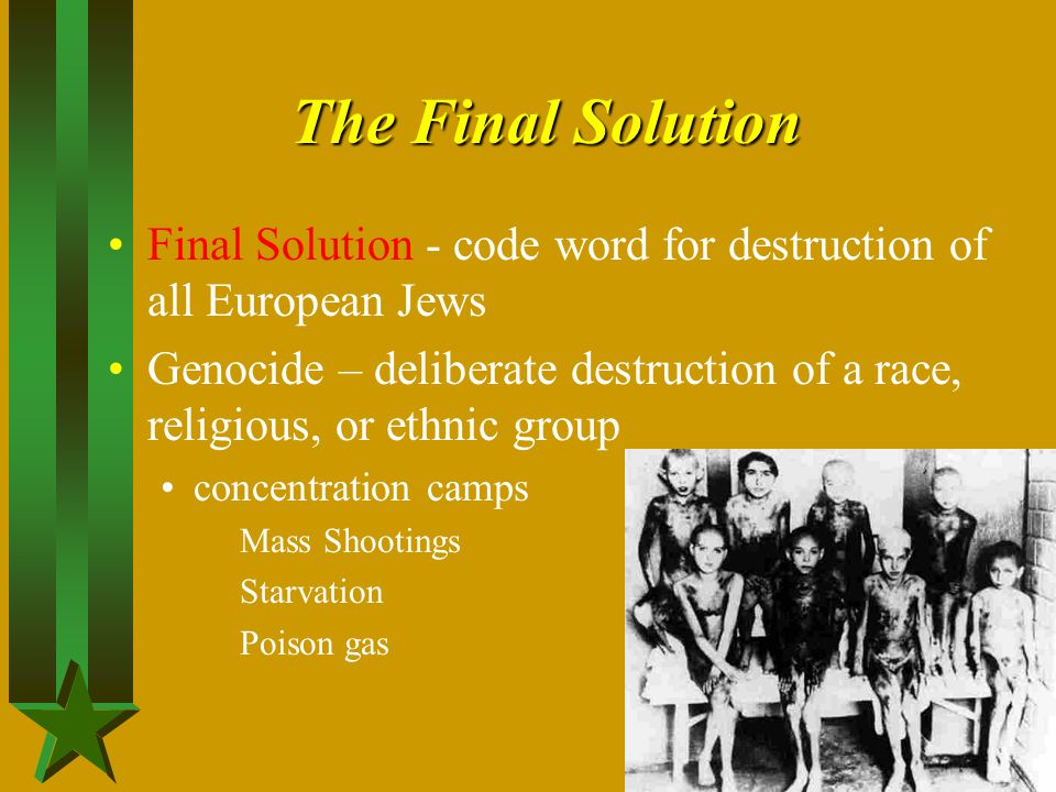 The Final Solution Final Solution - code word for destruction of all European Jews.