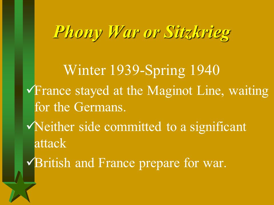 Phony War or Sitzkrieg Winter 1939-Spring 1940