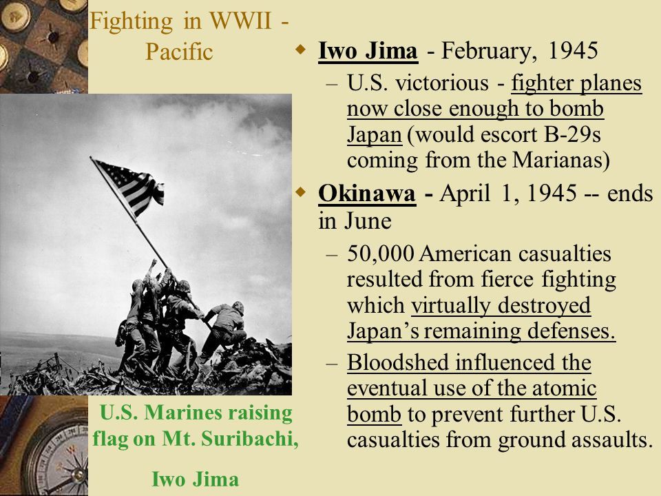 U.S. Marines raising flag on Mt. Suribachi, Iwo Jima