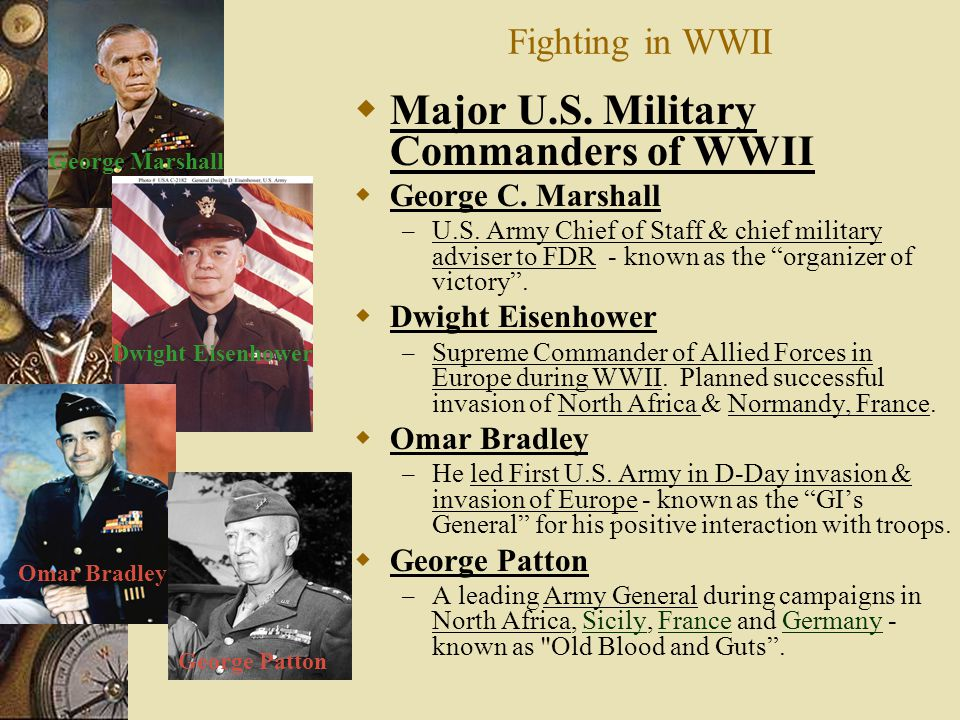 Major U.S. Military Commanders of WWII