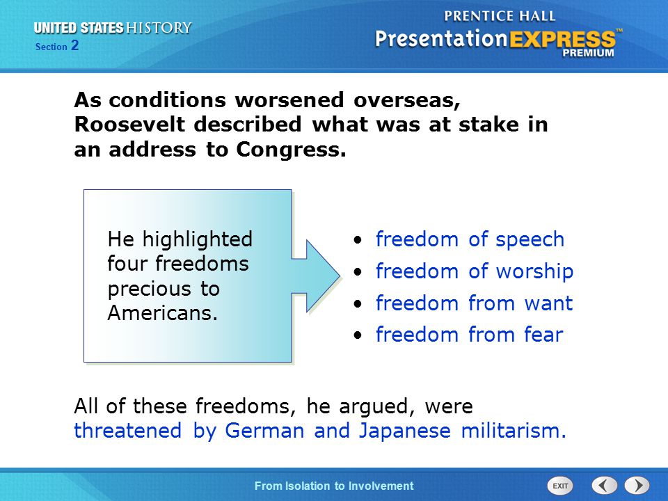He highlighted four freedoms precious to Americans. freedom of speech