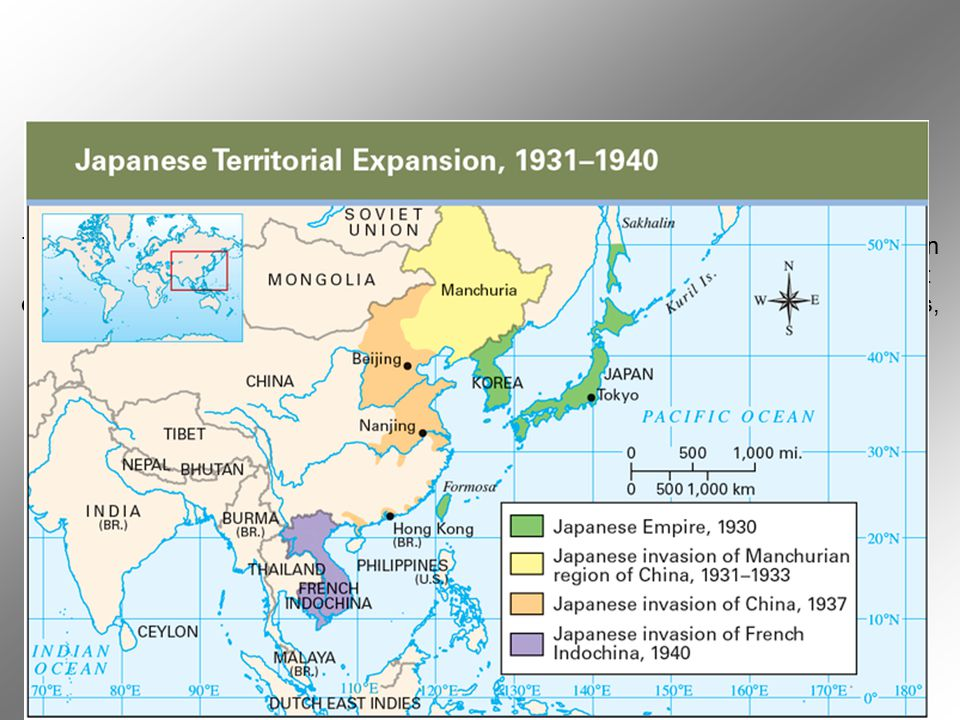 Throughout the 1930s, Japan's quest for raw materials drove its imperial expansion.