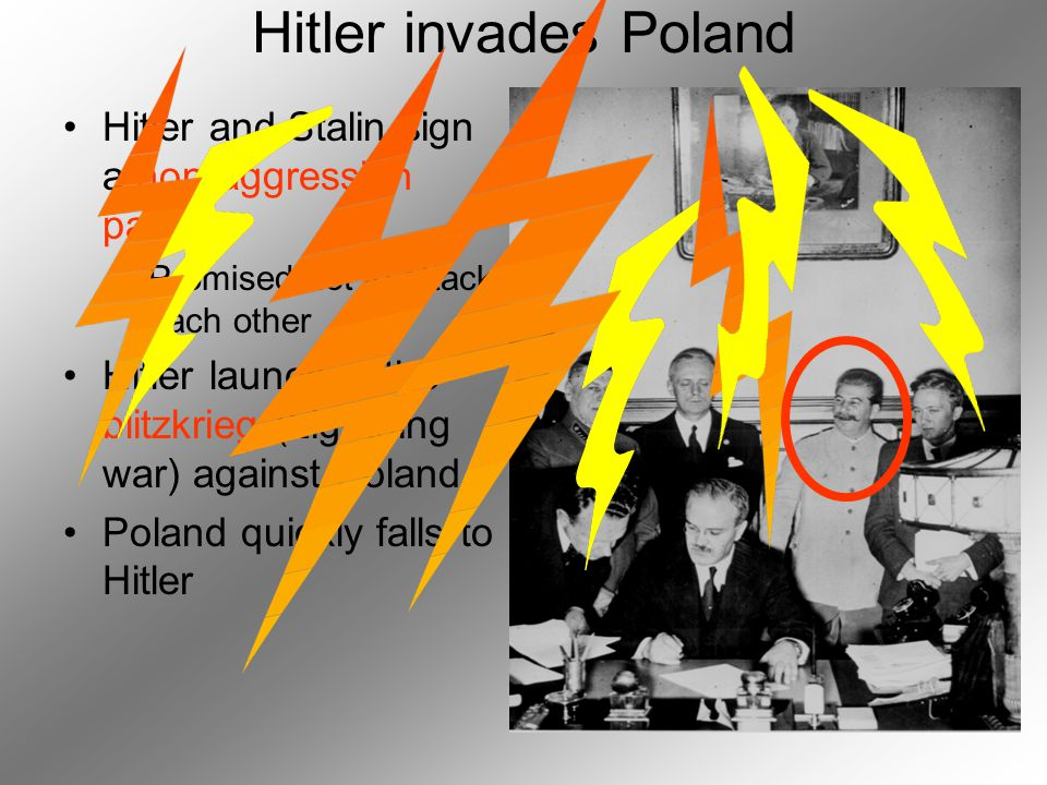 Hitler invades Poland Hitler and Stalin sign a non-aggression pact