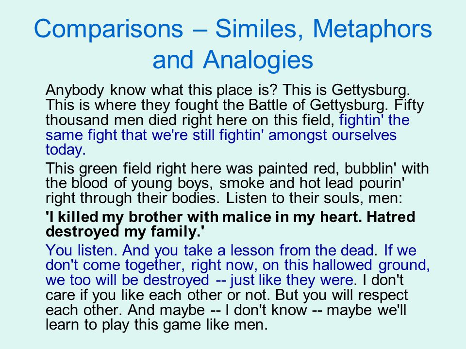Comparisons – Similes, Metaphors and Analogies