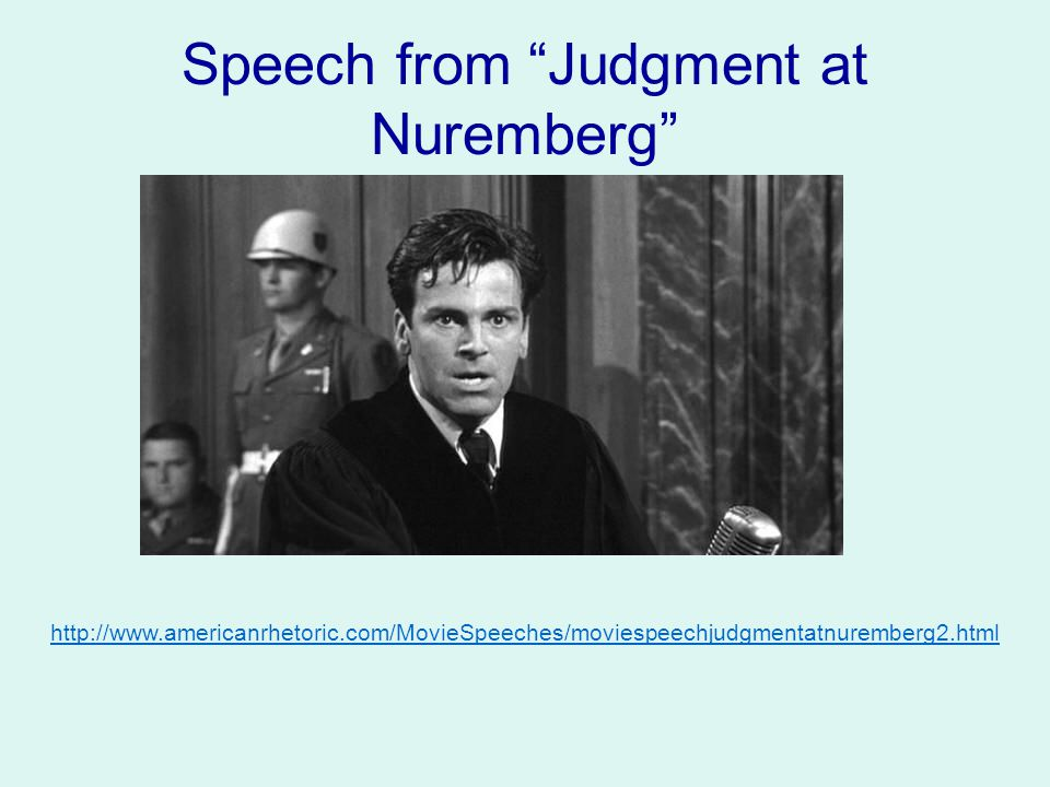 Speech from Judgment at Nuremberg