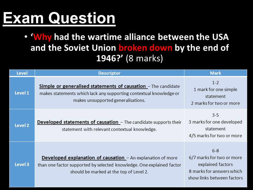 Exam Question 'Why had the wartime alliance between the USA and the Soviet Union broken down by the end of 1946 ' (8 marks)