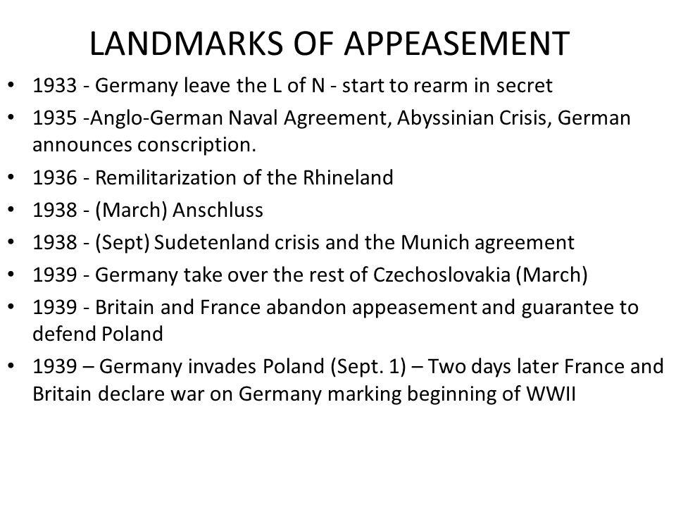 LANDMARKS OF APPEASEMENT