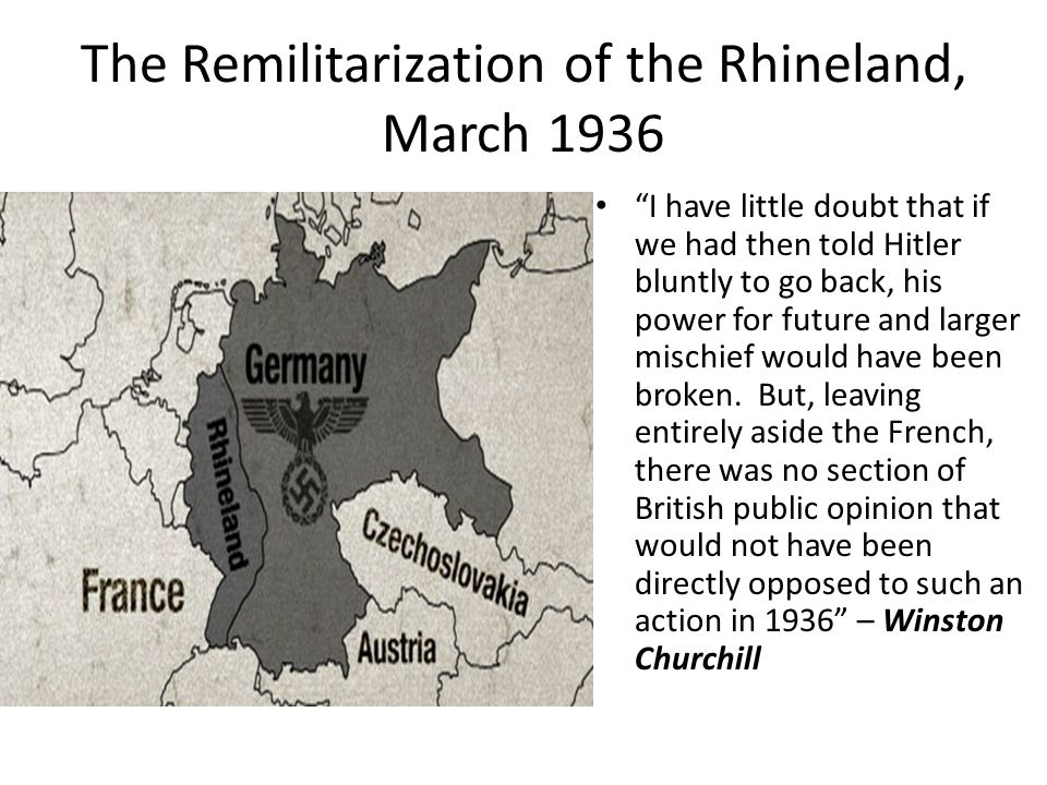 The Remilitarization of the Rhineland, March 1936