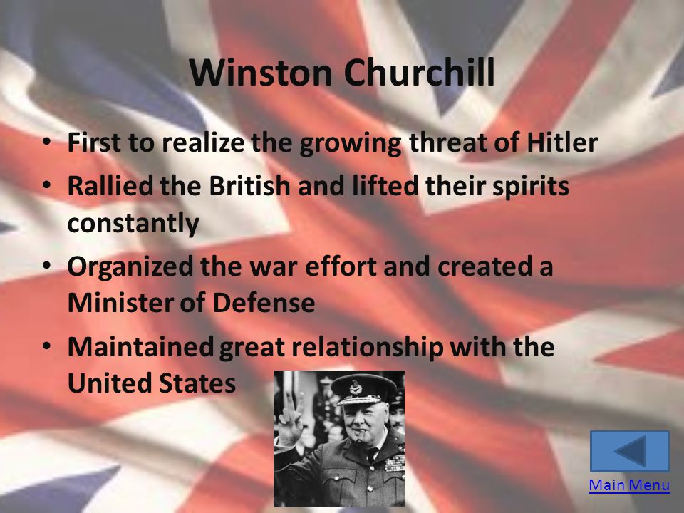 Winston Churchill First to realize the growing threat of Hitler